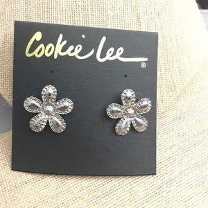 Cookie Lee Silver Flower Earrings